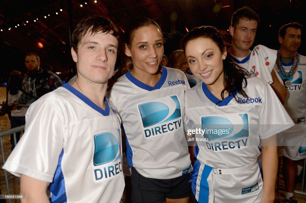 Josh Hutcherson, Lolo Jones and Leah Gibson attend DIRECTV'S 7th Annual Celebrity Beach Bowl at DTV SuperFan Stadium at Mardi Gras World on February 2, 2013 in New Orleans, Louisiana.