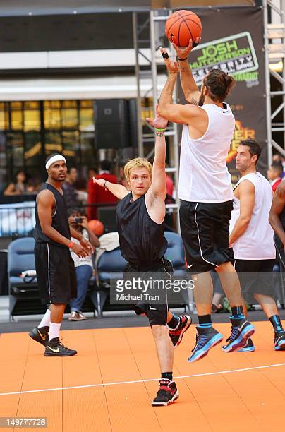 Josh Hutcherson plays basketball at his Celebrity Basketball game benefitting Straight But Not Narrow held at Nokia Plaza LA LIVE on August 3 2012 in...