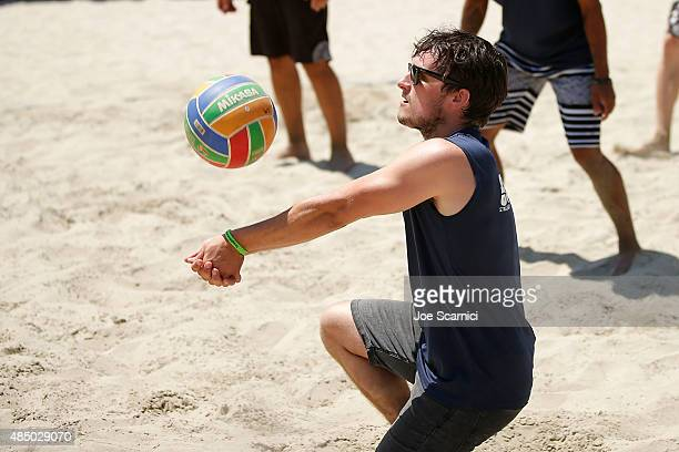 Josh Hutcherson plays in the ASICS World Series Of Volleyball Celebrity Charity Match on August 23 2015 in Long Beach California