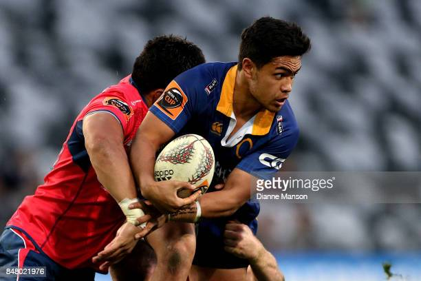Josh Ioane of Otago is tackled during the round five Mitre 10 Cup match between Otago and Tasman Forsyth Barr Stadium on September 16 2017 in Dunedin...