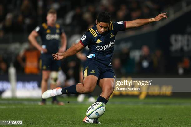Josh Ioane of the Highlanders takes a kick during the round 13 Super Rugby match between the Highlanders and the Jaguares at Forsyth Barr Stadium on...