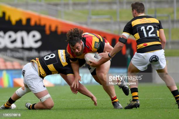 Josh IosefaScott of Waikato is tackled during the round 7 Mitre 10 Cup match between Waikato and Taranaki at FMG Stadium on October 25 2020 in...