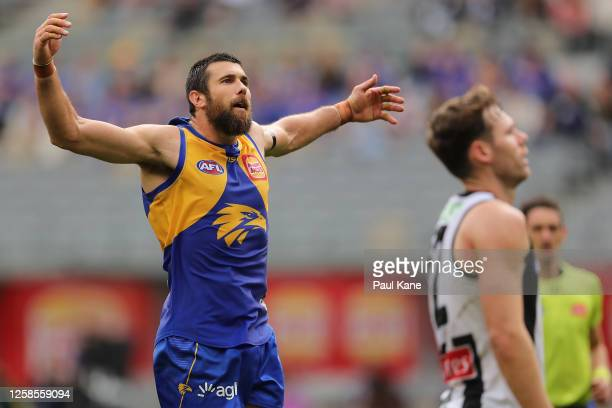 Josh J. Kennedy of the Eagles celebrates a goal during the round 8 AFL match between the West Coast Eagles and the Collingwood Magpies at Optus...