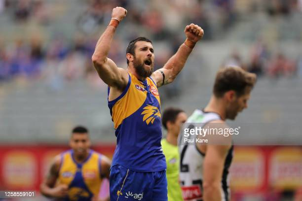 Josh J Kennedy of the Eagles celebrates a goal during the round 8 AFL match between the West Coast Eagles and the Collingwood Magpies at Optus...