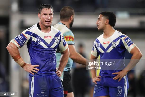 Josh Jackson and Brandon Wakeham of the Bulldogs look dejected after defeat during the round six NRL match between the Cronulla Sharks and the...