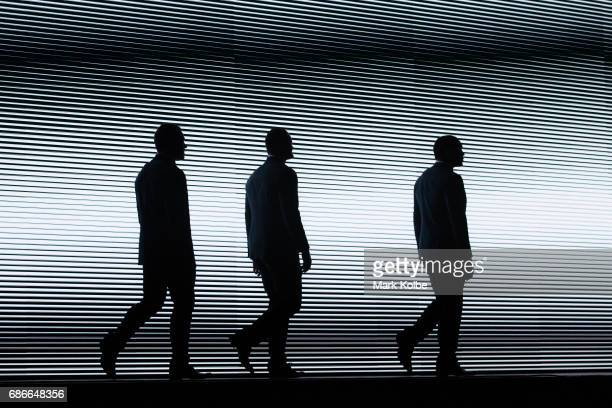 Josh Jackson Boyd Cordner and Tyson Frizell walk on stage during the New South Wales State of Origin team announcement at The Star on May 22 2017 in...