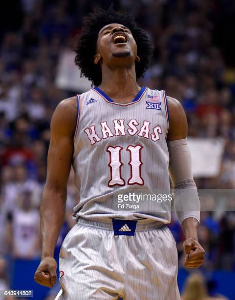 Josh Jackson celebrates a three point shot during a game against the TCU Horned Frogs in the second half at Allen Fieldhouse on February 22 2017 in...