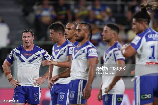 Josh Jackson looks dejected during the round 1 NRL match between the Parramatta Eels and the Canterbury Bulldogs at Bankwest Stadium on March 12,...