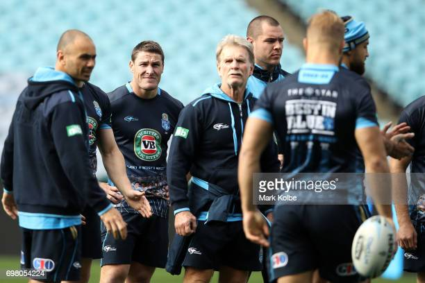 Josh Jackson looks on during a New South Wales Blues State of Origin captain's run at ANZ Stadium on June 20 2017 in Sydney Australia