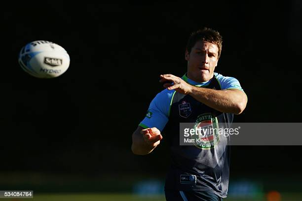 Josh Jackson of the Blues passes during a New South Wales Blues State of Origin training session on May 25 2016 in Coffs Harbour Australia