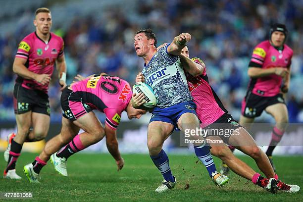 Josh Jackson of the Bulldogs breaks the Panthers defence during the round 15 NRL match between the Canterbury Bulldogs and the Penrith Panthers at...