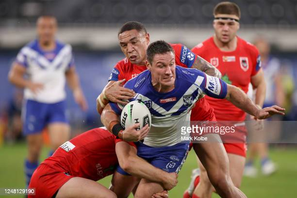 Josh Jackson of the Bulldogs charges forward during the round four NRL match between the Canterbury Bulldogs and the St George Illawarra Dragons at...