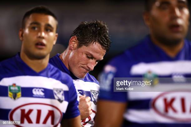 Josh Jackson of the Bulldogs dejected after defeat during the NRL round eight match between the Penrith Panthers and Canterbury Bulldogs on April 27...