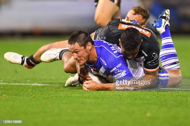 Josh Jackson of the Bulldogs in action during the round 25 NRL match between the Wests Tigers and the Canterbury Bulldogs at Moreton Daily Stadium,...