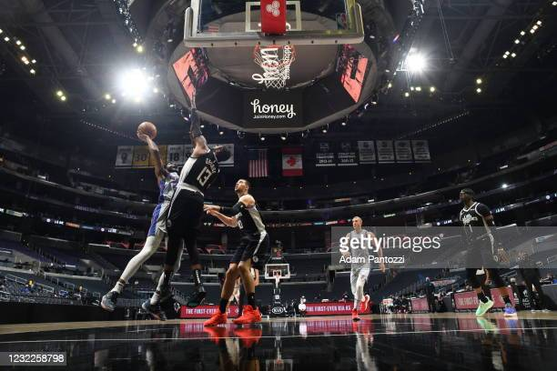 Josh Jackson of the Detroit Pistons drives to the basket against the San Antonio Spurs on April 11, 2021 at STAPLES Center in Los Angeles,...