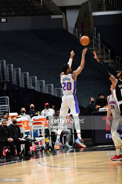 Josh Jackson of the Detroit Pistons shoots the ball against the San Antonio Spurs on April 11, 2021 at STAPLES Center in Los Angeles, California....