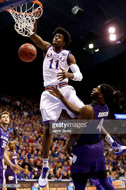 Josh Jackson of the Kansas Jayhawks dunks during the 1st half of the game against the Kansas State Wildcats at Allen Fieldhouse on January 3 2017 in...