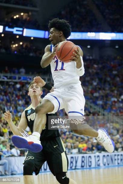 Josh Jackson of the Kansas Jayhawks handles the ball in the first half against the Purdue Boilermakers during the 2017 NCAA Men's Basketball...