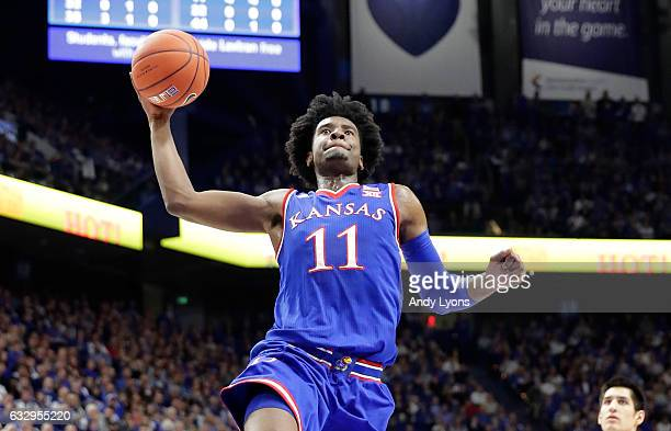 Josh Jackson of the Kansas Jayhawks shoots the ball against the Kentucky Wildcats during the game against at Rupp Arena on January 28 2017 in...