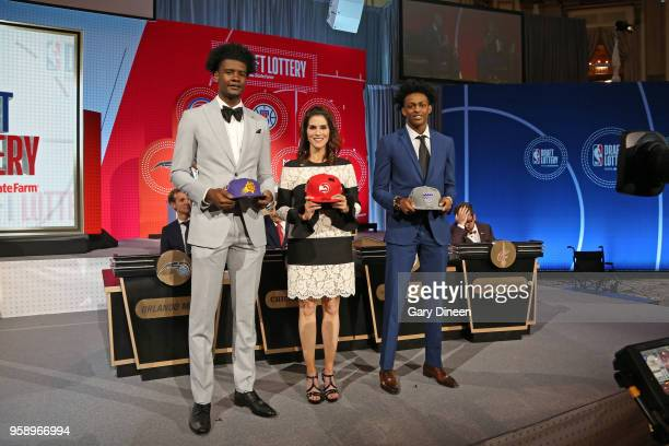 Josh Jackson of the Phoenix Suns Actress Jami Gertz and De'Aaron Fox of the Sacramento Kings pose for a photo during the NBA Draft Lottery on May 15...