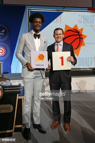Josh Jackson of the Phoenix Suns and General Manager of the Phoenix Suns Ryan McDonough pose for a photo after getting the number one pick in the...