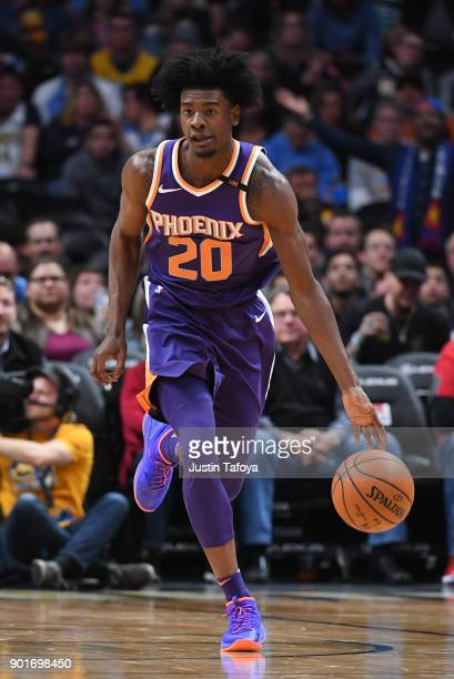 Josh Jackson of the Phoenix Suns dribbles the ball against the Denver Nuggets at Pepsi Center on January 3 2018 in Denver Colorado NOTE TO USER User...