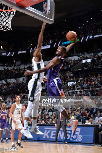Josh Jackson of the Phoenix Suns drives to the basket against the San Antonio Spurs on December 11 2018 at the ATT Center in San Antonio Texas NOTE...