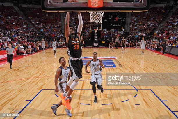 Josh Jackson of the Phoenix Suns dunks the ball during the game against the Dallas Mavericks during the 2017 Summer League on July 9 2017 at the...