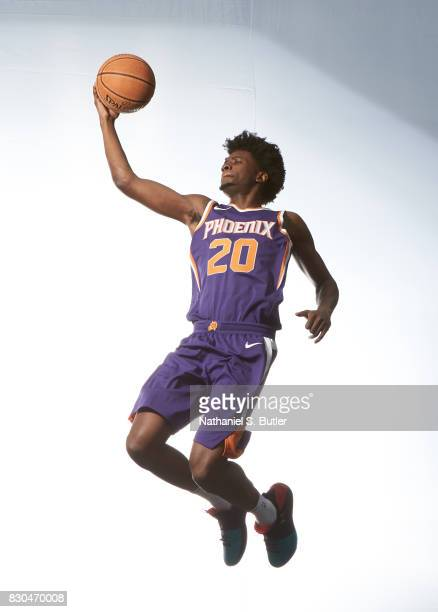 Josh Jackson of the Phoenix Suns poses for a photo during the 2017 NBA Rookie Shoot on August 11 2017 at the Madison Square Garden Training Center in...