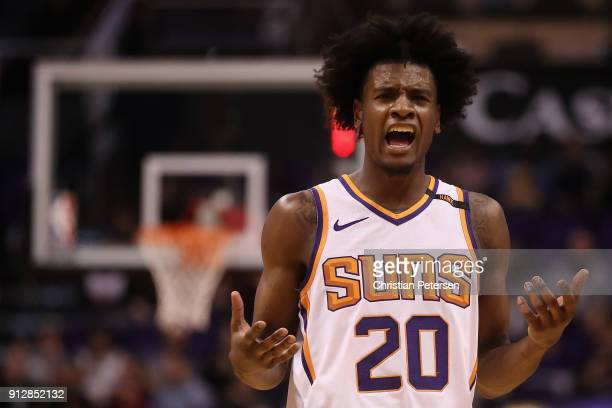 Josh Jackson of the Phoenix Suns reacts to a call during the second half of the NBA game against the Dallas Mavericks at Talking Stick Resort Arena...