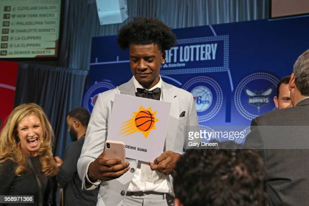 Josh Jackson of the Phoenix Suns takes a 'selfie' during the NBA Draft Lottery on May 15 2018 at The Palmer House Hilton in Chicago Illinois NOTE TO...