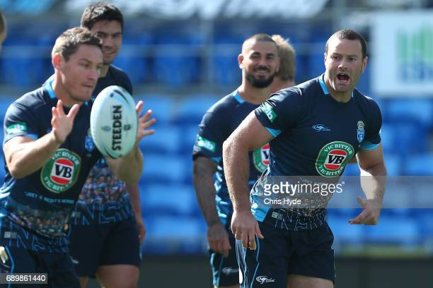 Josh Jackson passes to Boyd Cordner during the New South Wales Blues State of Origin captain's run at Cbus Super Stadium on May 30 2017 in Gold Coast...