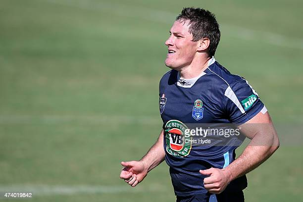 Josh Jackson runs during a New South Wales Blues State of Origin training session at Novotel Coffs Harbour on May 20 2015 in Coffs Harbour Australia