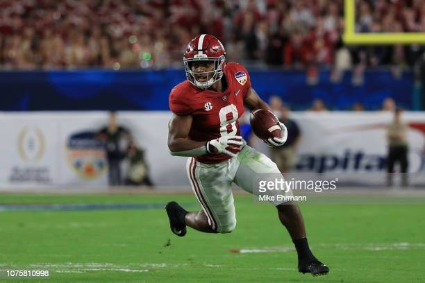 Josh Jacobs of the Alabama Crimson Tide carries the ball in the second quarter during the College Football Playoff Semifinal against the Oklahoma...