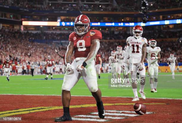 Josh Jacobs of the Alabama Crimson Tide reacts after scoring a touchdown in the second quarter during the College Football Playoff Semifinal against...