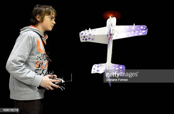 Josh James aged thirteen the F3PC indoor aerobatic champion shows his skills at the Northern Modelling Exhibition at EventCity on March 3 2013 in...