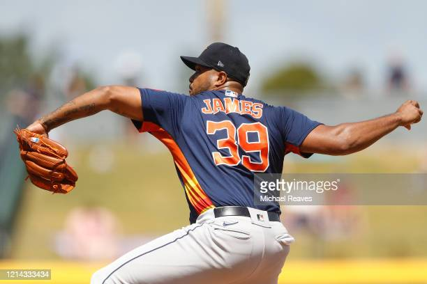 Josh James of the Houston Astros delivers a pitch against the Atlanta Braves during a Grapefruit League spring training game on March 10 2020 in...