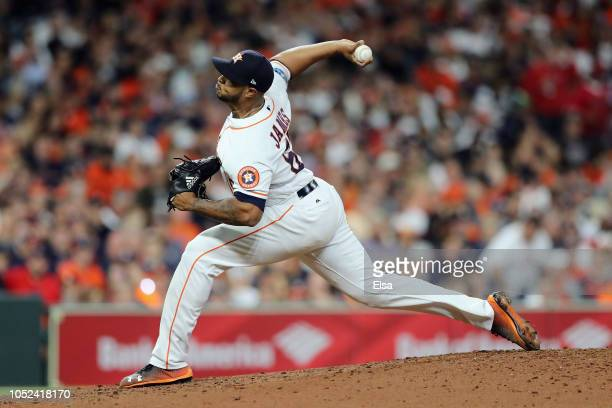 Josh James of the Houston Astros pitches in the third inning against the Boston Red Sox during Game Four of the American League Championship Series...