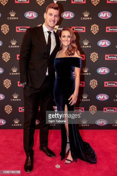 Josh Jenkins and Hannah Delmenico attends 2018 Brownlow Medal at Crown Entertainment Complex on September 24 2018 in Melbourne Australia
