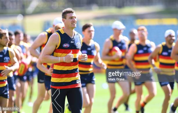 JOsh Jenkins during an Adelaide Crows AFL Grand Final training session at Adelaide Oval on September 27 2017 in Adelaide Australia