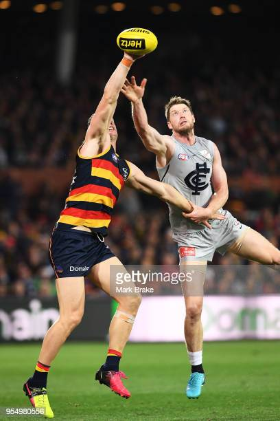 Josh Jenkins of the Adelaide Crows juggles a mark during the round seven AFL match between the Adelaide Crows and the Carlton Blues at Adelaide Oval...