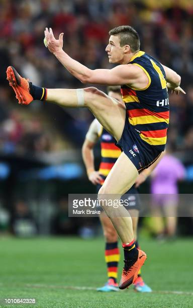Josh Jenkins of the Adelaide Crows kicks for goal during the round 20 AFL match between the Adelaide Crows and the Port Adelaide Power at Adelaide...
