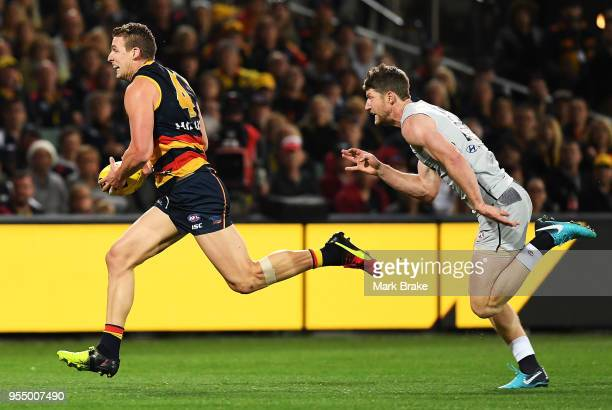 Josh Jenkins of the Adelaide Crows runs into anopen goal during the round seven AFL match between the Adelaide Crows and the Carlton Blues at...