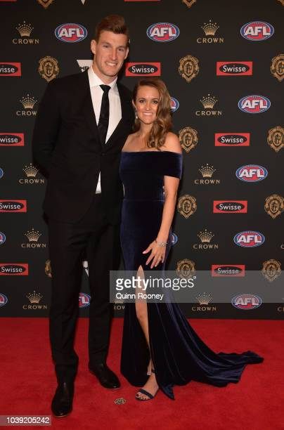 Josh Jenkins of the Crows and his partner Hannah Delmenico arrives ahead of the 2018 Brownlow Medal at Crown Entertainment Complex on September 24...