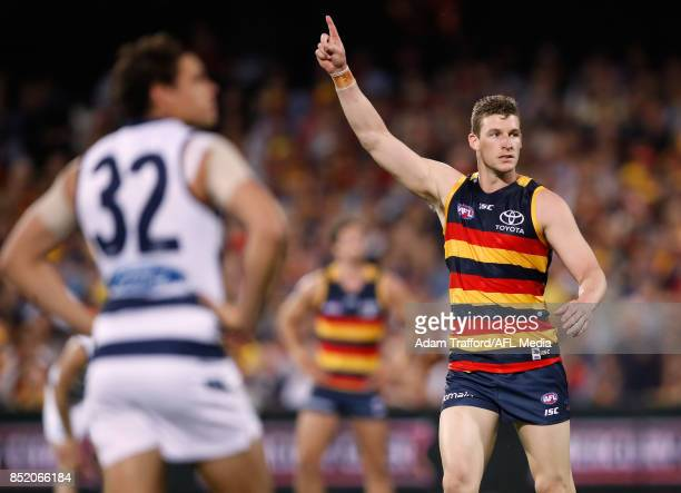 Josh Jenkins of the Crows celebrates a goal during the 2017 AFL First Preliminary Final match between the Adelaide Crows and the Geelong Cats at...