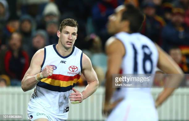 Josh Jenkins of the Crows celebrates a goal during the round 21 AFL match between the Greater Western Giants and the Adelaide Crows at UNSW Canberra...