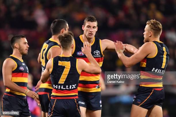 Josh Jenkins of the Crows celebrates after kicking a goal during the round 17 AFL match between the Adelaide Crows and the Geelong Cats at Adelaide...
