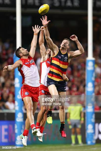 Josh Jenkins of the Crows contests the ball during the round five AFL match between the Sydney Swans and the Adelaide Crows at Sydney Cricket Ground...