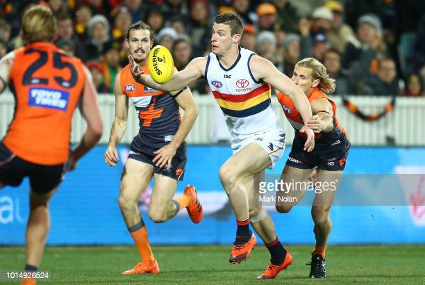 Josh Jenkins of the Crows in action during the round 21 AFL match between the Greater Western Giants and the Adelaide Crows at UNSW Canberra Oval on...