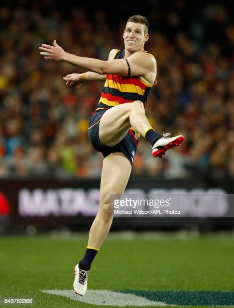 Josh Jenkins of the Crows kicks the ball during the AFL First Qualifying Final match between the Adelaide Crows and the Greater Western Sydney Giants...